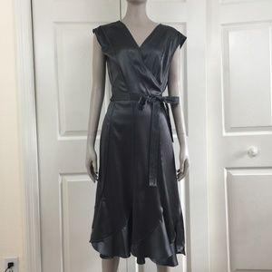 Nicole Farhi silk wrap dress embroidered sash gray